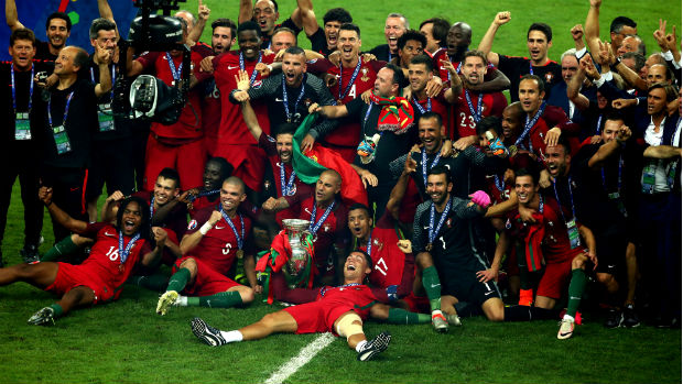 Portugal celebrate their Euro 2016 triumph.