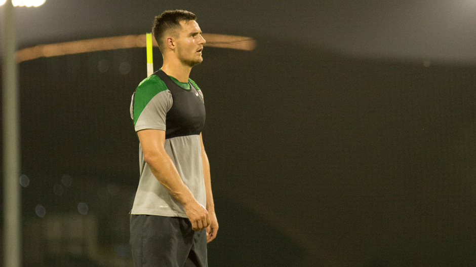 Bailey Wright sweats it out at a Socceroos training session in Dubai.