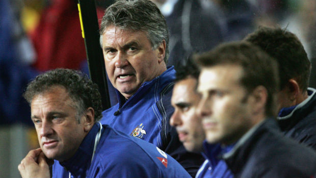 Guus Hiddink watches from the sidelines during the Socceroos home clash against the Solomon Islands in 2005.