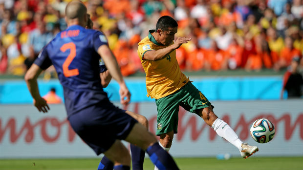 Caltex Socceroo Tim Cahill scores against the Netherlands with a blistering left-footed strike at the 2014 World Cup.