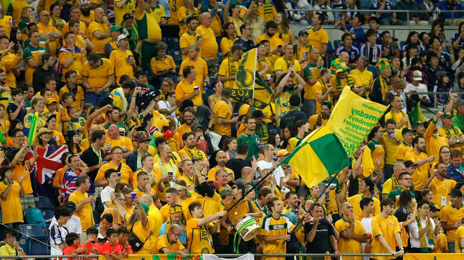 There was a small but vocal contingent of Caltex Socceroos fans showing their support inside the Saitama stadium.
