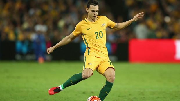 Trent Sainsbury on the ball for Socceroos against Jordan in March.
