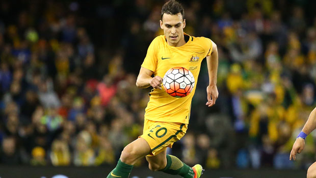 Socceroos defender Trent Sainsbury in action against Greece.