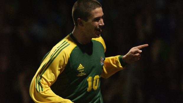 Former Socceroo Harry Kewell celebrates scoring against England at Upton Park in 2003.