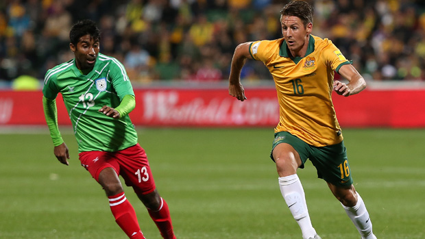 Nathan Burns netted his first goal for the Socceroos against Bangladesh.