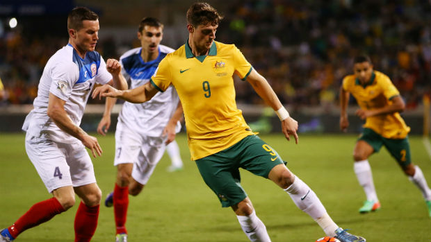 Tomi Juric on the ball in the Socceroos World Cup qualifier against Kyrgyzstan.