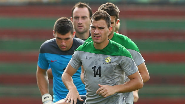 Striker James Troisi leads a drill at Socceroos training.