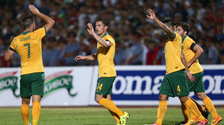 The Socceroos celebrate Tommy Oar's second-half goal against Kyrgyzstan.