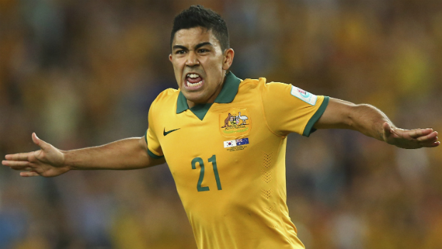 Socceroos midfielder Massimo Luongo celebrates scoring the opening goal in the AFC Asian Cup final.