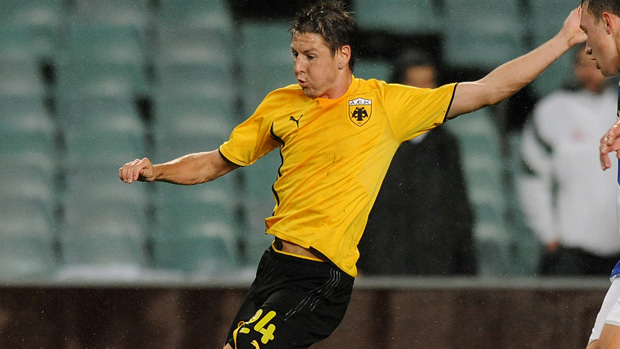 Nathan Burns in action for AEK.