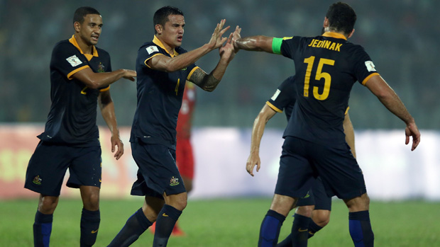 Socceroos players celebrate a goal in their 4-0 win over Bangladesh in November.
