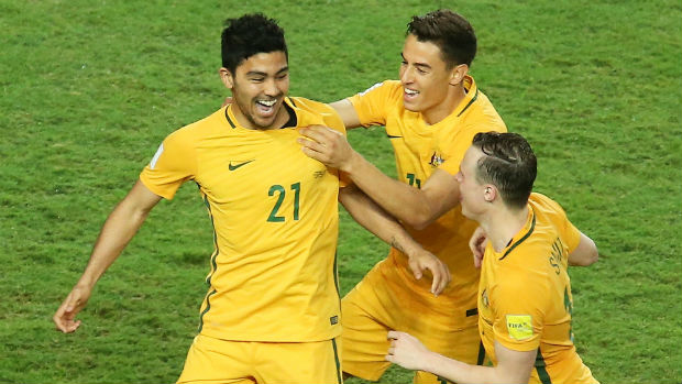 Massimo Luongo celebrates the Caltex Socceroos' fifth goal against Jordan in their World Cup qualifier.