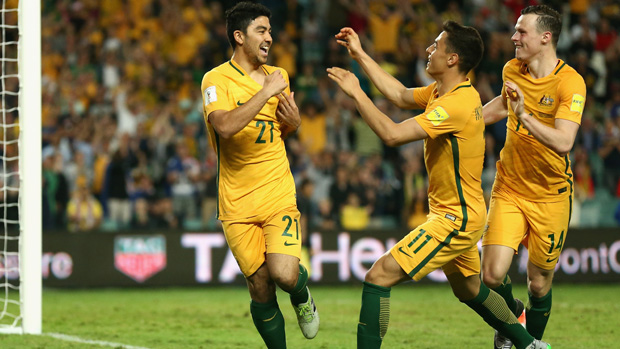 Massimo Luongo celebrates after scoring against Jordan.