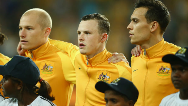 Caltex Socceroos Aaron Mooy, Brad Smith and Trent Sainsbury.