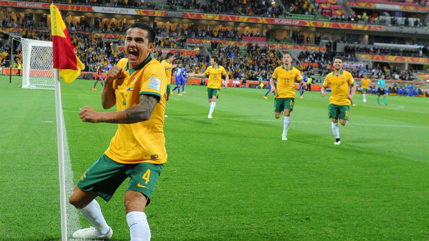 Socceroos striker Tim Cahill celebrates scoring against Kuwait at last year's AFC Asian Cup.