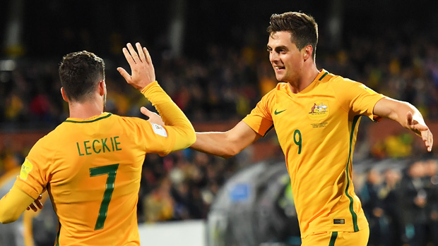 Tomi Juric celebrates one of his two goals in Australia's win over Saudi Arabia.