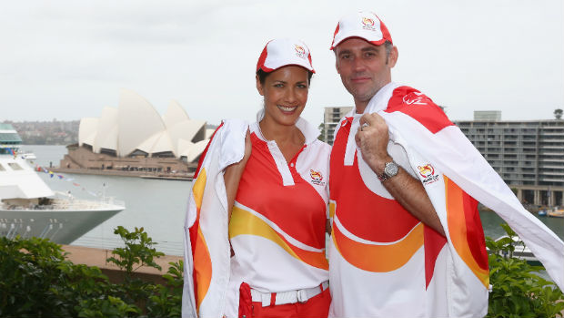 AFC Asian Cup media ambassadors Stephanie Brantz and Simon Hill.