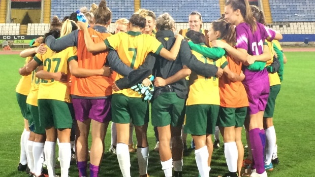 The Westfield Matildas come together after their win over Finland.
