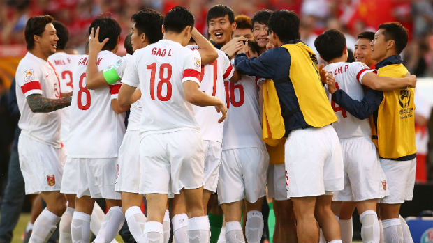 China celebrate scoring against DPR Korea in Canberra on Sunday.