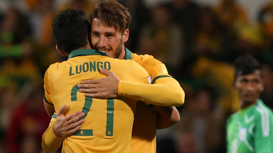 Mat Leckie netted his second goal for the Socceroos against Bangladesh.