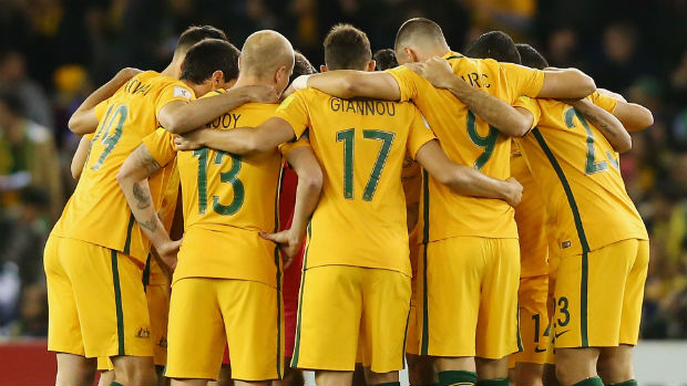 The Caltex Socceroos ahead of kick-off in their last World Cup Qualifier against Japan.