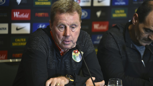 Interim Jordan manager Harry Redknapp speaks at the pre-match press conference in Sydney.