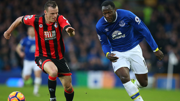 Brad Smith challenges for the ball with Everton's Romelu Lukaku.