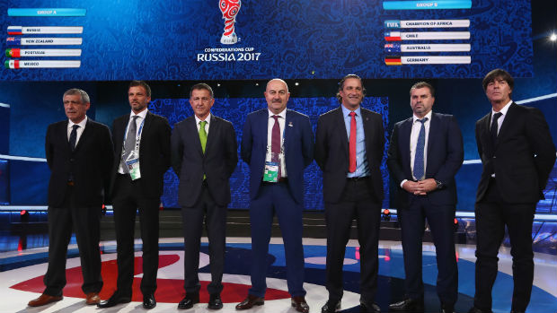 Caltex Socceroos boss Ange Postecoglou alondside fellow coaches at the 2018 Confederations Cup draw in Russia.