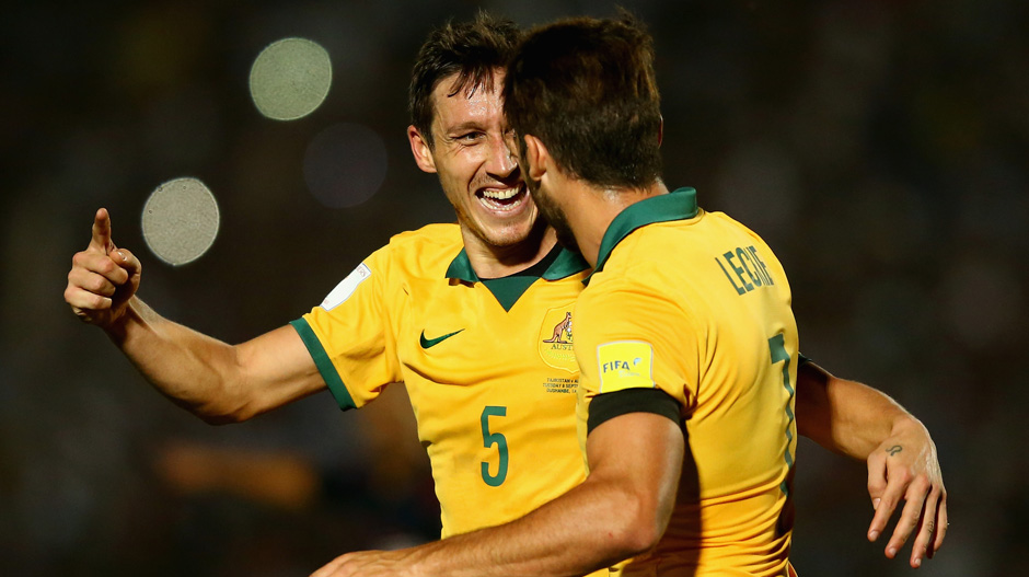Mark Milligan celebrates scoring the Socceroos' opener against Tajikistan last month.