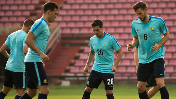 Caltex Socceroos Nathan Burns, Trent Sainsbury, Jamie Maclaren and Mathew Spiranovic are put through their paces.
