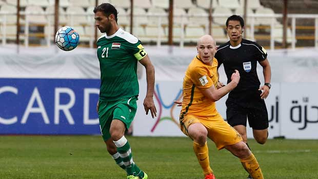 Caltex Socceroo midfielder Aaron Mooy against Iraq.