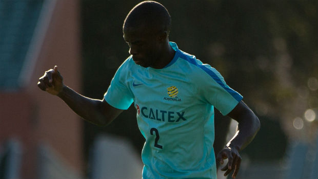 Defender Jason Geria on the training ground in Adelaide.