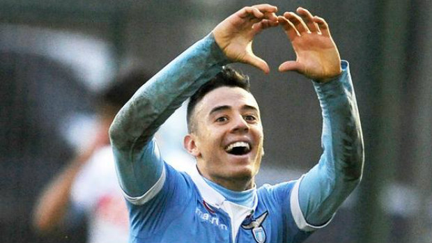 Chris Ikonomidis celebrates one of his goals for Lazio in the Coppa Primavera final.
