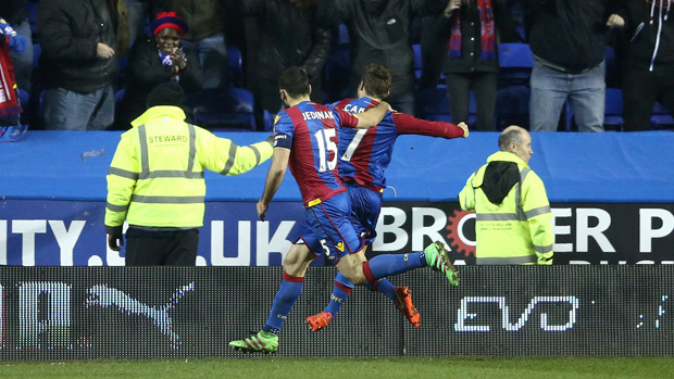 Mile Jedinak celebrates with Yohan Cabaye after the latter opened the scoring against Reading.