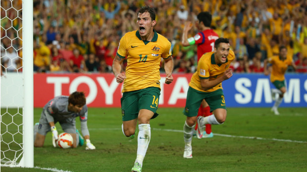 Socceroos midfielder James Troisi celebrates his extra-time winner against Korea Republic.