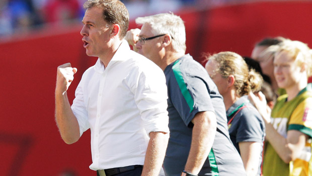 Matildas boss Alen Stajcic celebrates a goal during the 2015 FIFA World Cup.