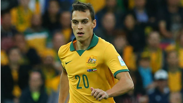 Trent Sainsbury on the ball in the Socceroos' win over Kuwait.