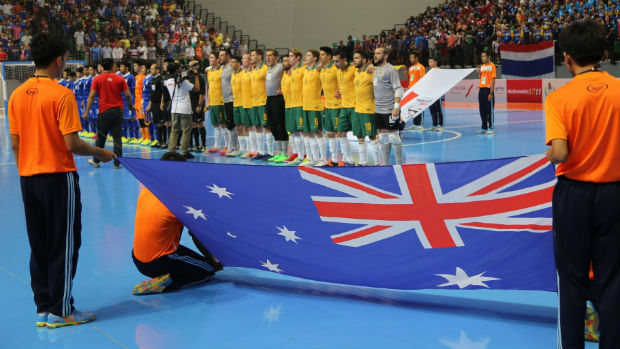 The Futsalroos prior to kick-off in the 2015 AFF Futsal Championship final. Image courtesy of Mark Seeto