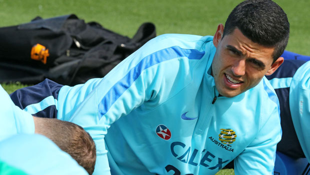 Tom Rogic gets ready for the Caltex Socceroo training session.