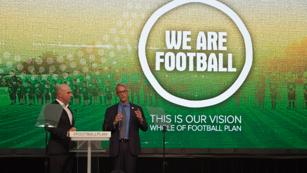FFA CEO David Gallop speaking at the Whole of Football launch.