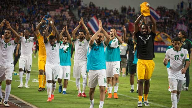 Saudi Arabian players celebrate their win in Thailand.