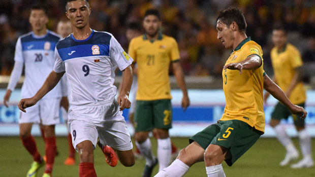 Mark Milligan on the ball against Kyrgyzstan.