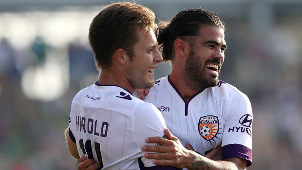 Chris Harold and Aryn Williams celebrate a goal in Glory's 6-1 win over Newcastle.