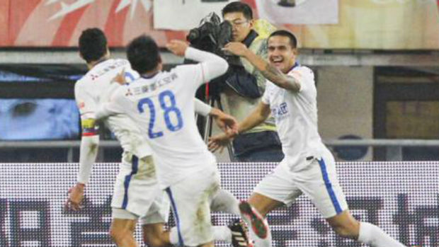 Tim Cahill celebrates a goal for Shanghai Shenhua in the CSL.