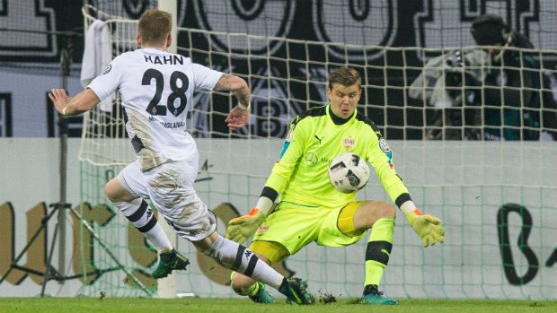 Goalkeeper Mitch Langerak makes a save against Borussia Moenchengladbach in Germany's League Cup.