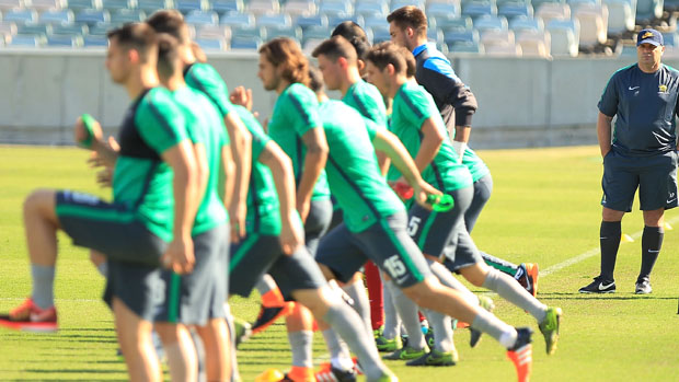 Socceroos players are put through their paces in front of Ange Postecoglou.