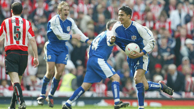 Tim Cahill celebrates scoring for Millwall in their FA Cup semi-final against Sunderland in 2004.