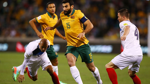 Mile Jedinak on the ball against Kyrgyzstan.