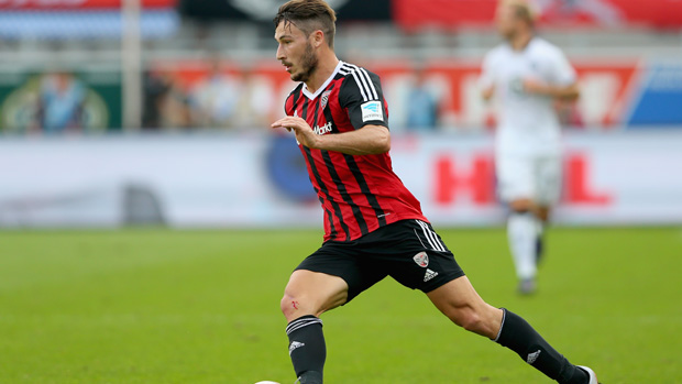 Socceroos flyer Mat Leckie on the ball for FC Ingolstadt in the Bundesliga.