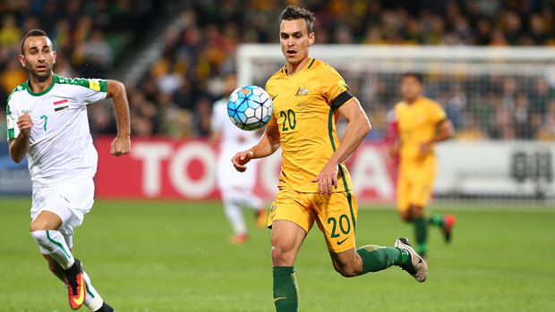 Trent Sainsbury on the ball during Australia's 2-0 win over Iraq.